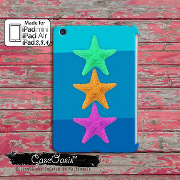 Three Starfish Summer Teal Blue Cute Tumblr Inspired Cute Custom iPad Mini 1, 2 and  iPad 2, 3, 4 and iPad Air and iPad Air 2 Case Cover