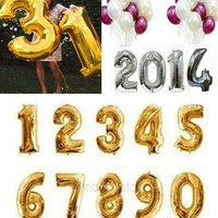 16 Inch Gold Silver Foil Number Balloons Birthday Wedding Party Decoration HOT SELL = 1946039684