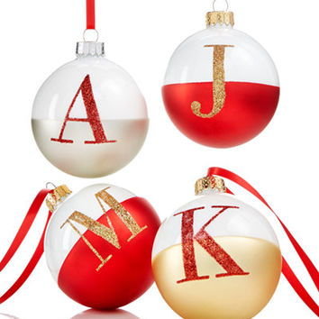 Holiday Lane Glass Initial Ball Ornaments, Created for Macy's - Holiday Lane - For The Home - Macy's