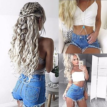 Women's Distressed Denim Shorts Cut Off Stretch Blue Jeans Frayed High Waist