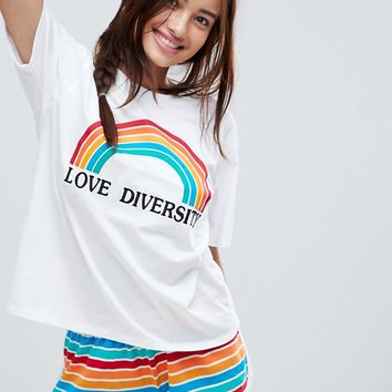 ASOS Love Diversity Tee And Short Pyjama Set at asos.com