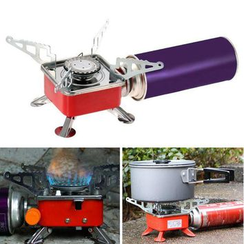 ONETOW Mini Portable Collapsible Outdoor Camping Stove Backpacking Gas Burner Travel Picnic Ultralight Foldable Cook P5