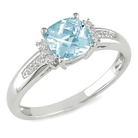 0.05 Carat Diamond & 1 1/5 Carat Sky Blue Topaz Ring 10k White Gold