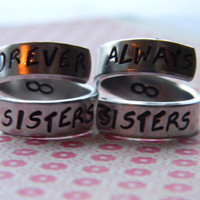 Always sisters forever sisters spiral ring infinity symbol inside