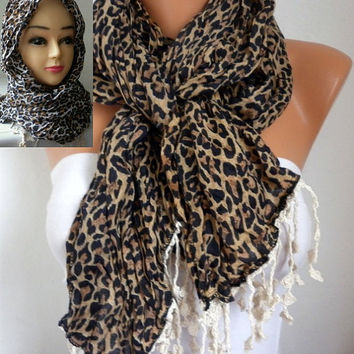 Leopard Scarf - Cotton Scarf -  Cowl with Lace Edge Head cover - Head Scarf  - fatwoman