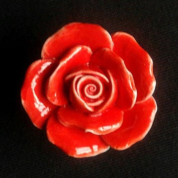 Red Rose Ceramic Knobs / Dresser Drawer Knobs Flower / Kitchen Cabinet Knobs Pulls Handles / Decorative Knobs Furniture Knob Handle Hardware