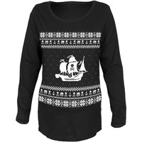 Pirate Ship Ugly Christmas Sweater Black Womens Soft Maternity Long Sleeve T-Shirt