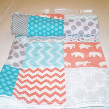 Baby quilt,elephant,teal,grey,coral,patchwork crib quilt,baby boy bedding,baby girl quilt,fleece,modern,aqua,woodland,rustic,Birch organic