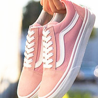 """Vans"" With Warm Casual Shoes Men and women Pink cloth shoes Pink"