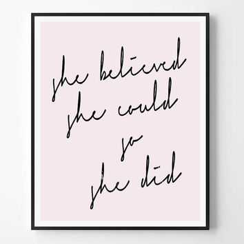 She Believed She Could So She Did Quote print, Marble, Pink, Fashion art, Typography Wall Art Print, Printable Quote, Minimalist, Modern