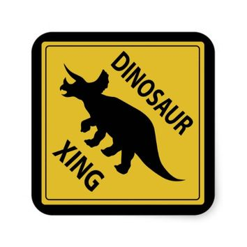 Dinosaur Xing Square Sticker