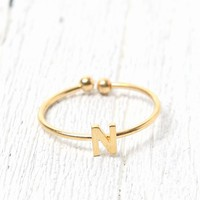 Wanderlust + Co 'N' Initial Ring - Womens Jewelry - Gold - One