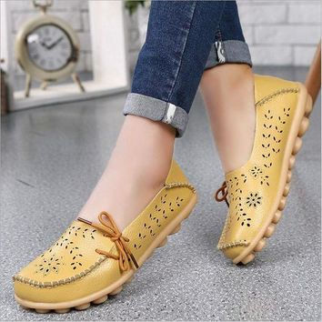 Genuine Leather Women Flats Shoe Fashion Casual Lace-up Soft Loafers Spring Autumn lad