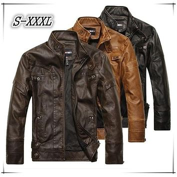 Men Motorcycle Leather Jackets 2017 New Fashion Brand Autumn Winter Fleece Leather Jacket Jaqueta De Couro Masculina M-3XL Color