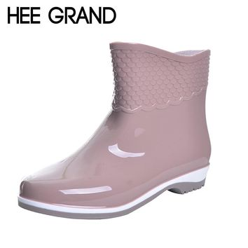 HEE GRAND Rubber Boots For Women Scale Films Pattern Woman Ankle Rainboots Waterproof Flat Heel Rainning Shoes For Women XWX4400