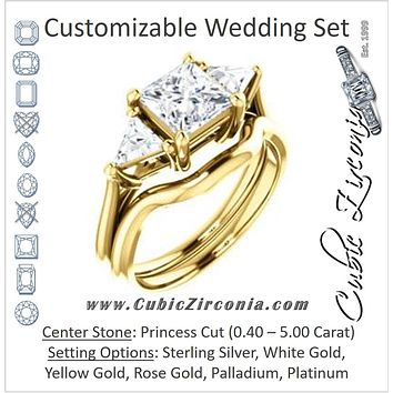 CZ Wedding Set, featuring The Prisma engagement ring (Classic Three-Stone Triangle Accent and Princess Cut center)