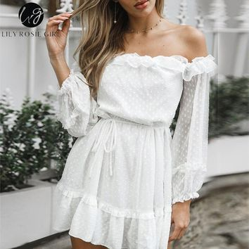 Lily Rosie Girl Elegant Party White Mesh Dress Long Sleeve Dress Beach Boho Sexy Dress Ruffle Solid Chiffon Green Dress Vestidos