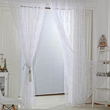 New tulle curtains Flocking pattern for Kitchen Bedroom Door window Decorative