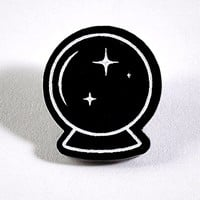 Black & White Crystal Ball Acrylic Pin
