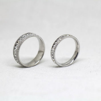 2pcs-Free Engraving,Matte rings, Switzerland diamond ring, promise ring,couple Rings, Lovers rings