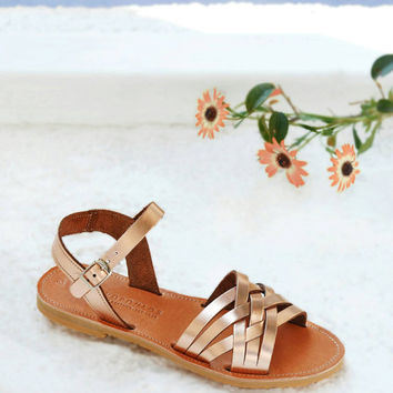 PLEXIDA , Sandals, Leather sandals, Gladiator ankle strap sandals in rose gold leather, Greek sandals