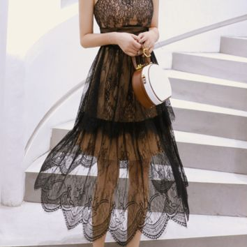 Sexy tube top waist A word big swing dress strap lace dress
