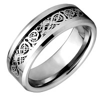 Silver Tungsten Wedding Ring With Celtic Inlay Design