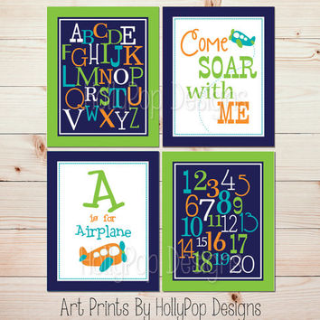 Airplane Nursery Wall Art Baby Boy Nursery Decor Nursery Art Prints ABC Prints Alphabet Poster Print Bright Modern Nursery Wall Decor #1223