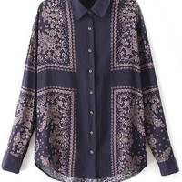 Retro Scarf Print Button Down Shirts - OASAP.com