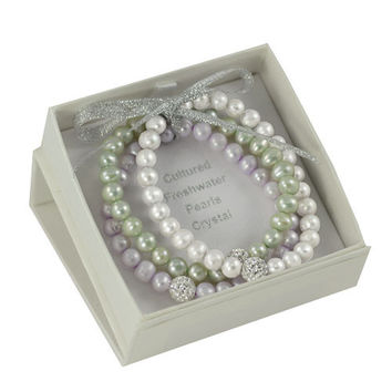 "7"" 3 PC Set White, Sage & Orchid Freshwater Pearl & Crystal Stretch Bracelet Boxed Set"