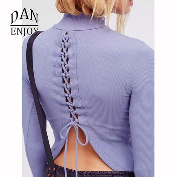 New Best Cross Strap Sexy Backless Long Sleeve High Neck T-shirt Shirt Fitness Running Tank Top Yoga New Women Clothing