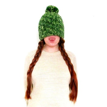 Sale! Green Pom Pom Hat. Super Soft & Chunky Handmade Beanie