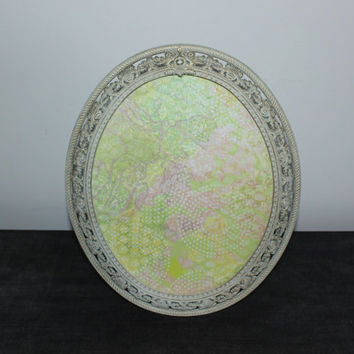Cream and gold 8x10 filigree oval picture frame, antique picture frame, ornate picture frame