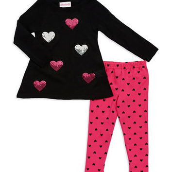 Flapdoodles Girls 2-6x Two Piece Sequined Sweater Set