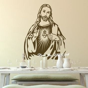 New Arrivals The heart of Jesus Christ Portrait Art Sticker Living Room Poster Removable Classic Jesus Mural Wall Decals LA326
