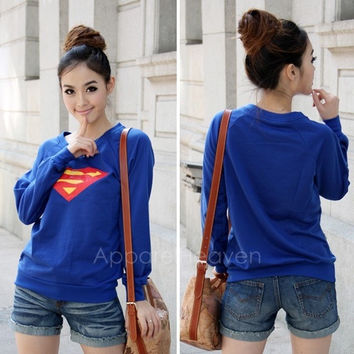 1d355784f3 Korea Cute Women Superman Logo Print Round Neck Long Sleeves T-shirt Top  New Style