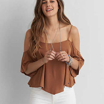 AEO Soft & Sexy Cold Shoulder Swing Top, Caramel