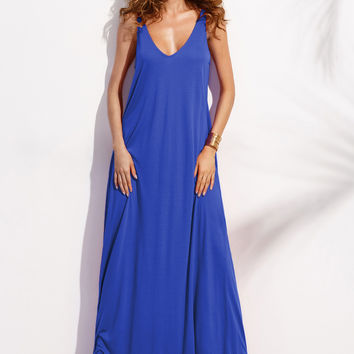 Blue Sleeveless Double V-Neck Tent Maxi Dress