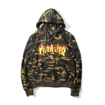 Thrasher Print Tops Long Sleeve Pullover Hoodies