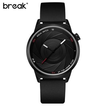 BREAK Men Luxury Brand Fashion Casual Rubber Band Aperture Quartz Wristwatches Unique Unisex Women Creative Sports Watches reloj