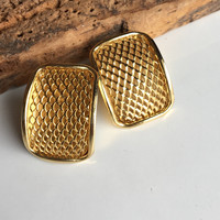 Gold Plated Earrings, Waffle Textured Earrings, Post Earrings, Cluster Earrings, Big Earrings, 80's Earrings, 1980's Earrings