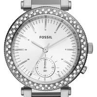 Women's Fossil 'Urban' Crystal Bezel Bracelet Watch, 35mm - Silver