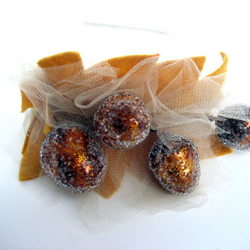 Frosted Autumn Acorn Headband - Fall felt & tulle sugar plum bridal headpiece - gold brown Woodland wedding tiara bride