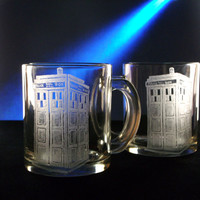 TARDIS coffee cup set of two , coffee mug ,hand engraved glass, kitchen , glassware, geekery, police box , doctor who, gift ideas