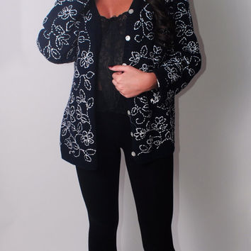 SALE Vintage 90s Black and White FLORAL embroidered heavy knit oversized oversize button down CARDIGAN long sleeve Sweater Xl
