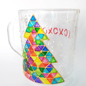 Coffee Cup Mosaic Christmas Tree  Triangle  design Christmas Mug Christmas gift Hand Painted winter snowflakes tea cup