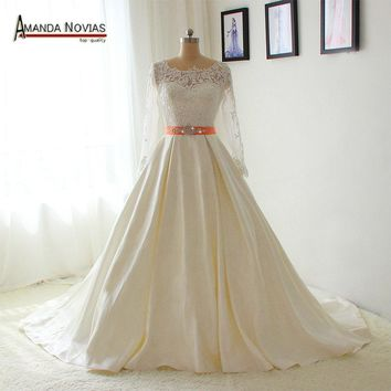 Simple 2017 new collection lace sleeves dress bride with low back wedding dress