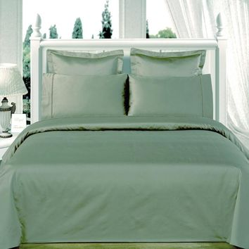 "Sage-Green 550TC Olympic Queen Solid Bed in A Bag 90x92"" Combed cotton With Down Alternative Comforter"