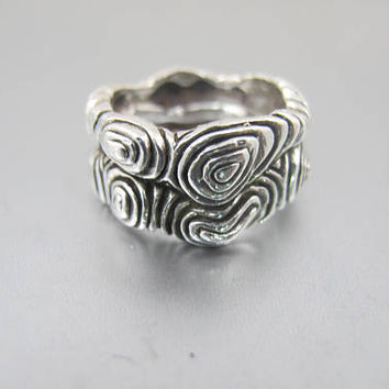 Stephen Dweck Sterling Silver Ring. Organic Branch Ring. Wide Cigar Band. Vintage Stephen Dweck Jewelry.