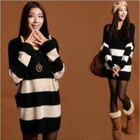 Women Stripes Long V neck Sleeve Casual Loose Sweater Knitted Blouse one size = 1827690756